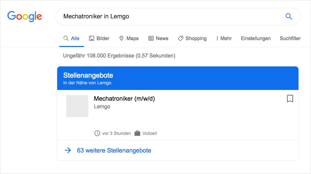 Stellenangebote in der Google Jobs Suche